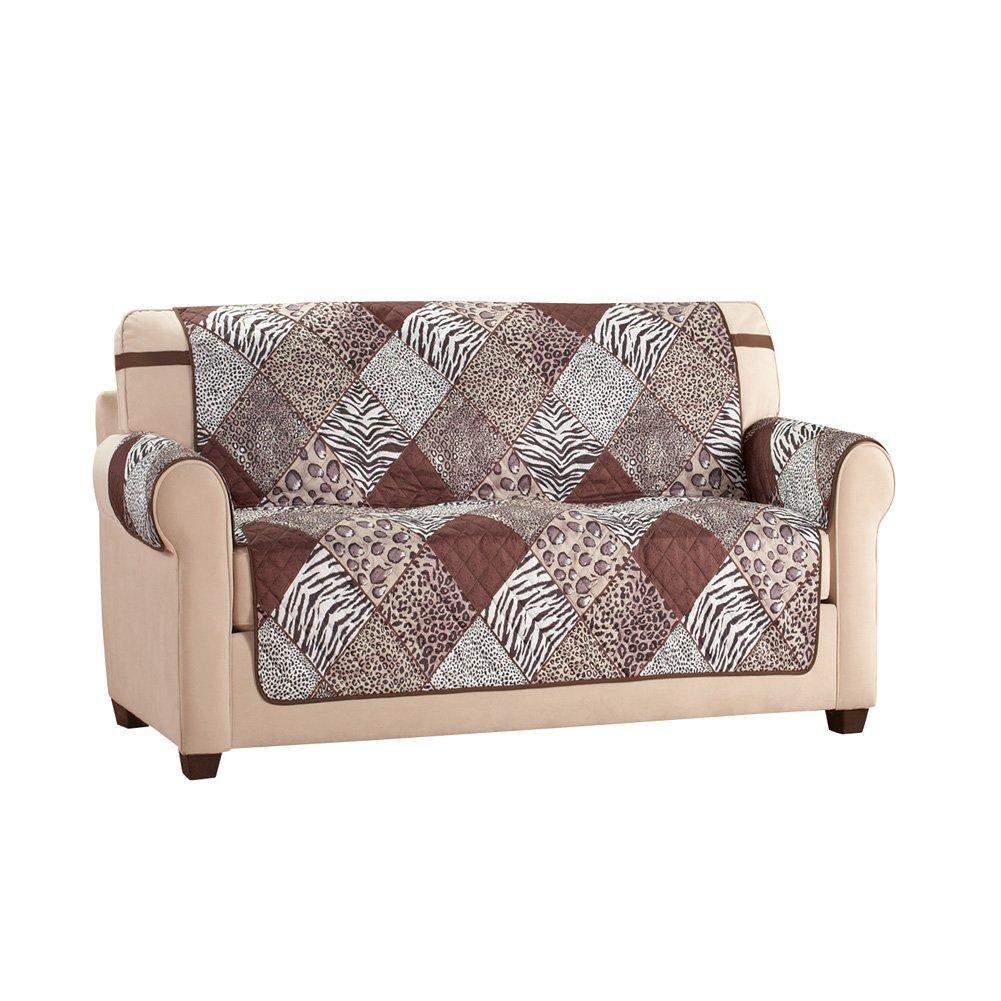Collections Etc Reversible Safari Animal Print Furniture Protector, Loveseat
