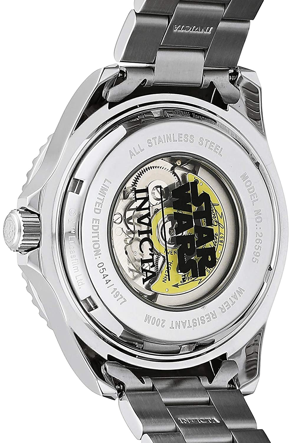 Amazon.com: Invicta Mens Star Wars Automatic Stainless Steel Fashion Watch, Color:Silver-Toned (Model: 26595): Watches