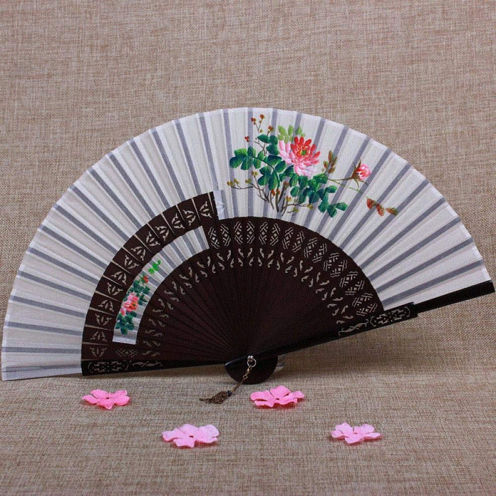 Aigial Folding Fan Chinese Style Hand-Painted Female Folding Fan Classical Bamboo Handle Hollow Silk Japanese Style Summer Folding Hand Fan,Milky White Peony