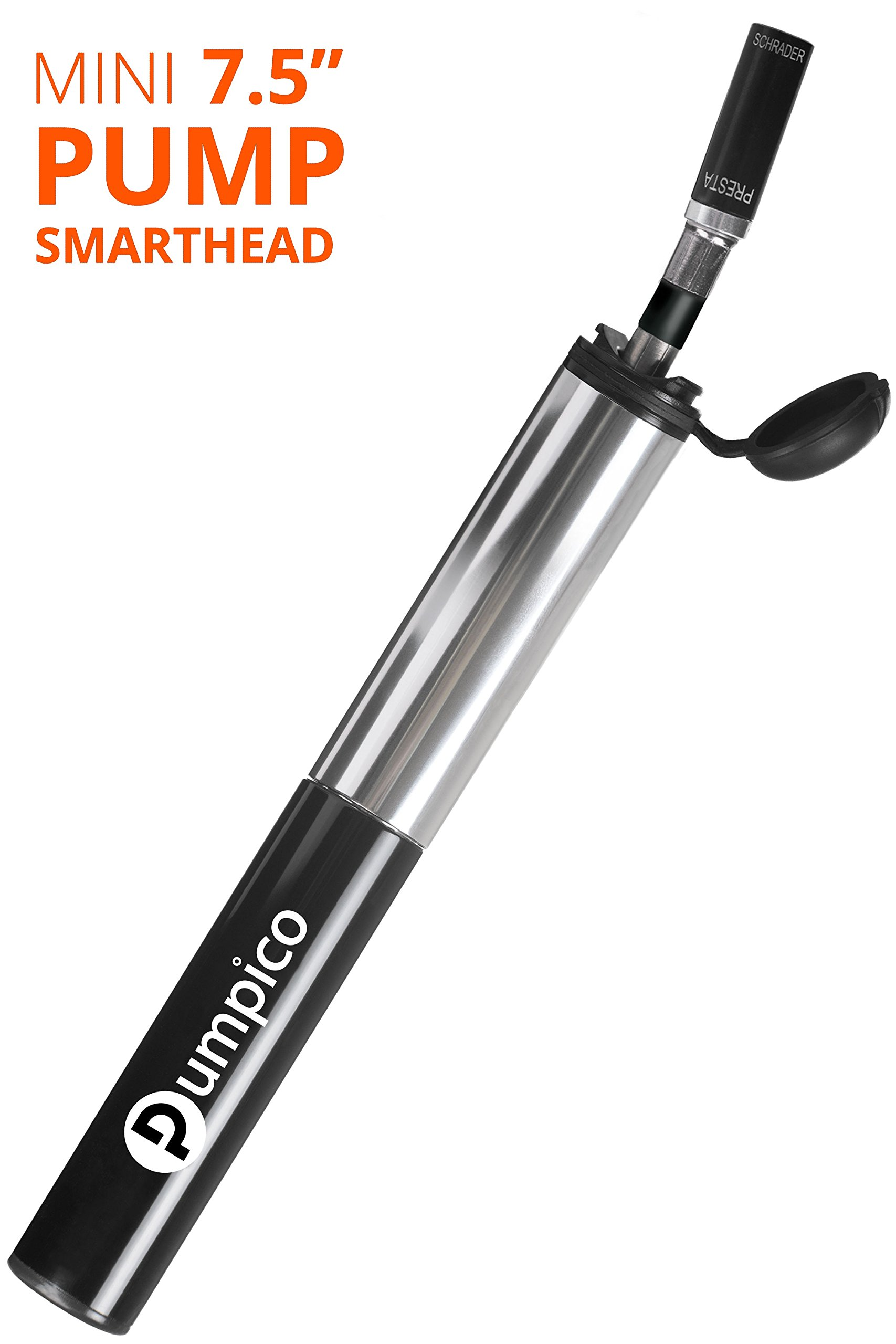 PUMPICO Bike Pump - Mini Bike Pump - Bicycle Pump - Presta And Schrader Valve Pump - Functional and Sturdy Aluminum Alloy Body and Ergonomical Handle with Smarthead Nozzle – Pressure Up to 140 PSI
