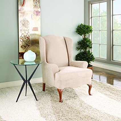 Merveilleux Stretch Suede Wing Chair T Cushion Slipcover
