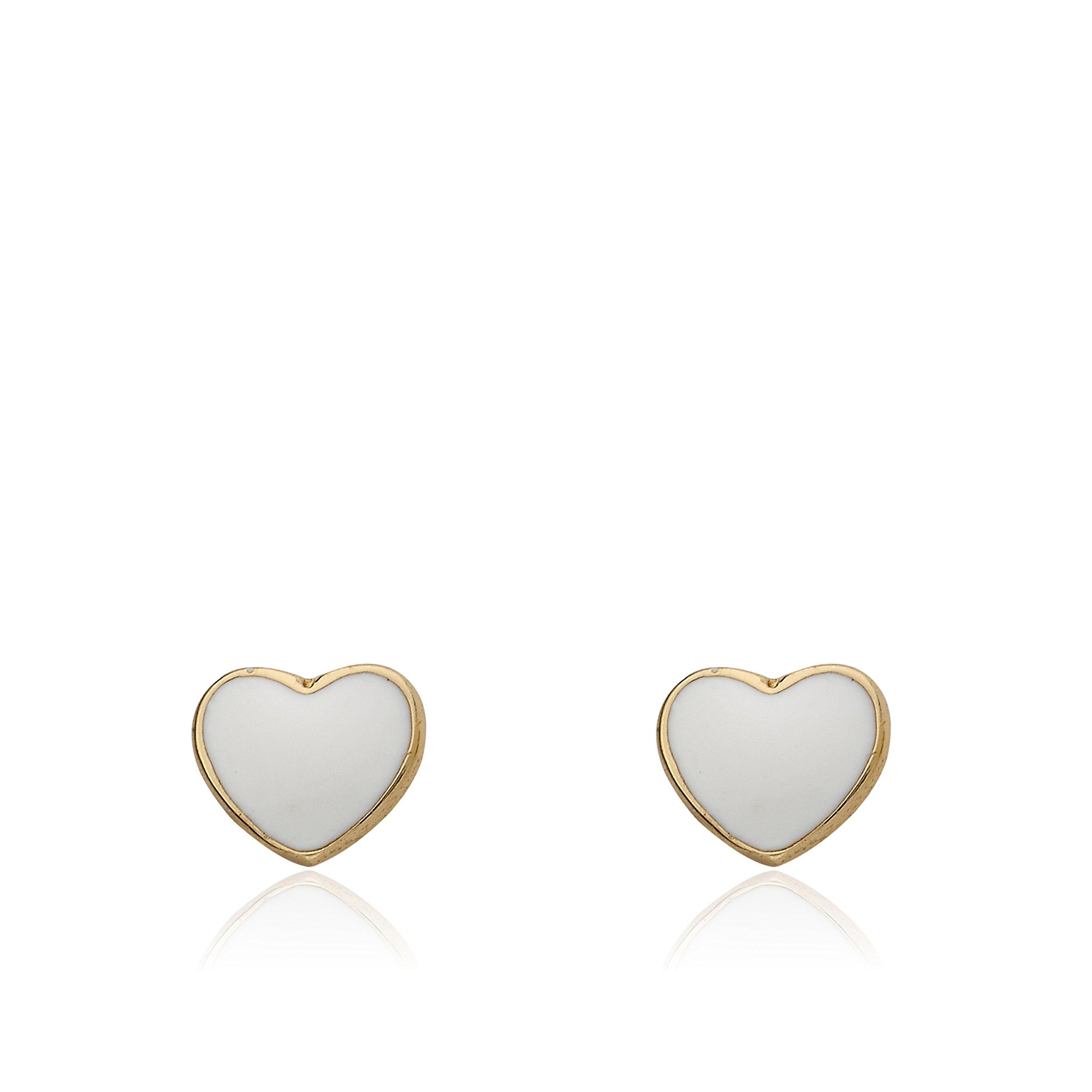 Little Miss Twin Stars I LOVE My Jewels 14k Gold-Plated White Enamel Heart Stud Earring/