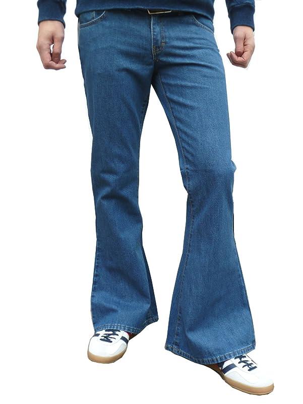 Mens Denim Bell Bottom Flares Vintage Retro Jeans Pants Stonewash Blue at Amazon Mens Clothing store: