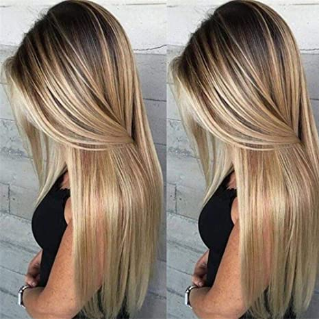 Ombre Pelucas de pelo natural largo liso rubio sintético peluca completa 70 cm para mujer cosplay