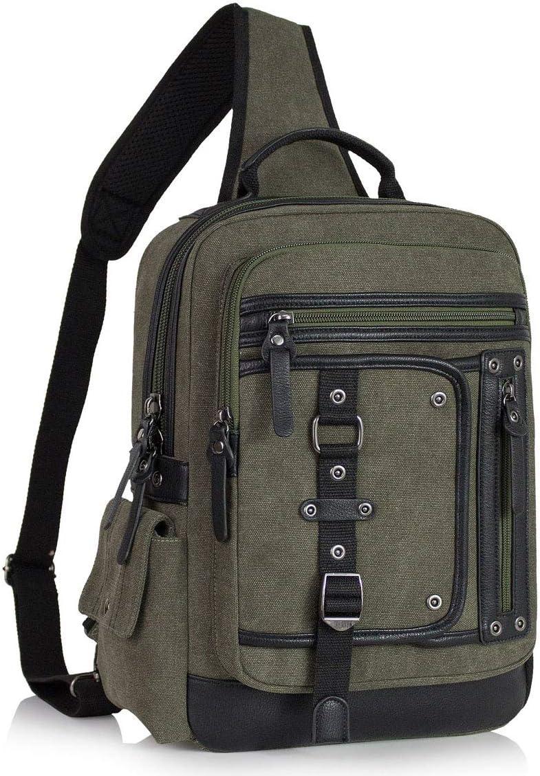 Schkleier Men's Crossbody Sling Bag Retro Messenger Bag Laptop Rucksack Shoulder Bags, for Travel Business Casual and School