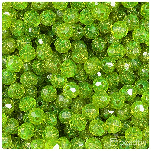 Beads Acrylic 8mm Round Faceted (BEADTIN Lime Roe Gold Sparkle 8mm Faceted Round Craft Beads (450pc))