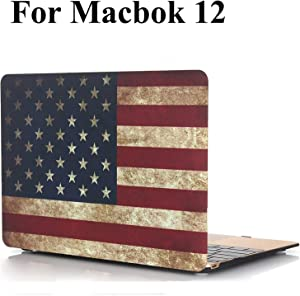 MacBook 12 Inch Case A1534 Release 2017/2016 / 2015 - iZi Way US Patriotic Rubber Coated Hard Shell Case Cover for Apple Laptop Mac 12 with Retina Display - Retro American Flag