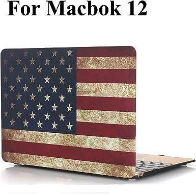 MacBook 12 pulgadas - Funda iZi Way Vintage con patrón de bandera americana recubierta de goma Estuche rígido para MacBook 12