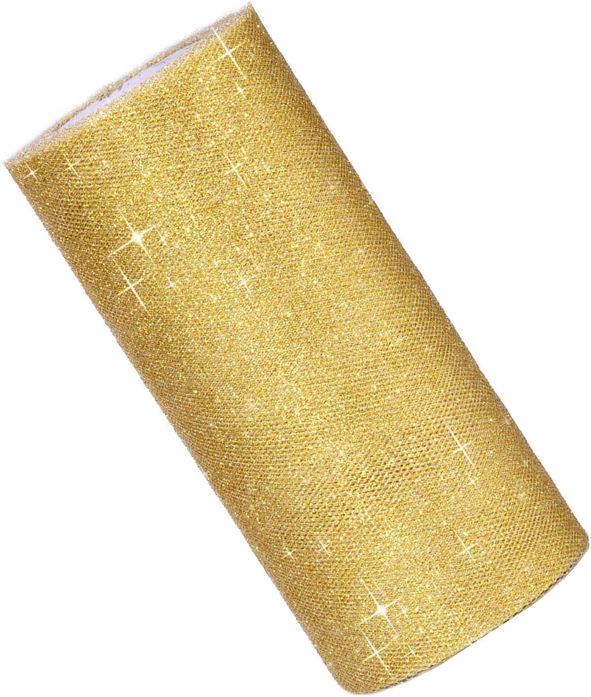 FORD KING Rollo de Tul Brillante de 6 Pulgadas Color Dorado Rollo de Tul con Purpurina 25 Yardas