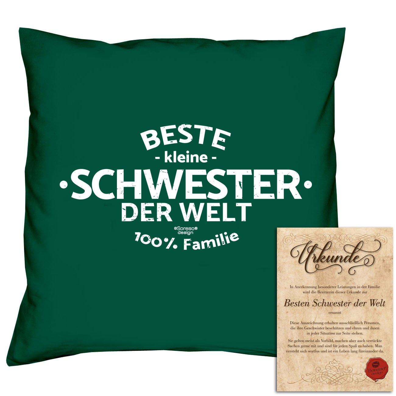 Beste kleine Schwester der Welt : Kissen mit Füllung und Urkunde ...