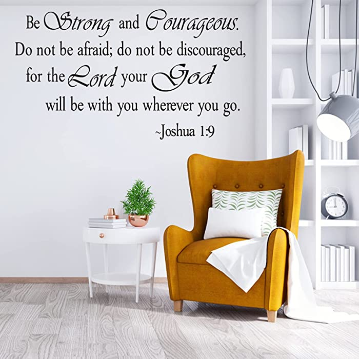 Be Strong and Courageous, Inspirational Quotes Wall Decal, Home Vinyl Letters Art Wall Decor, Scripture Faith Sayings Words Sticker, Religious Bible Prayer Verse Motto Sticker for Living Room Church