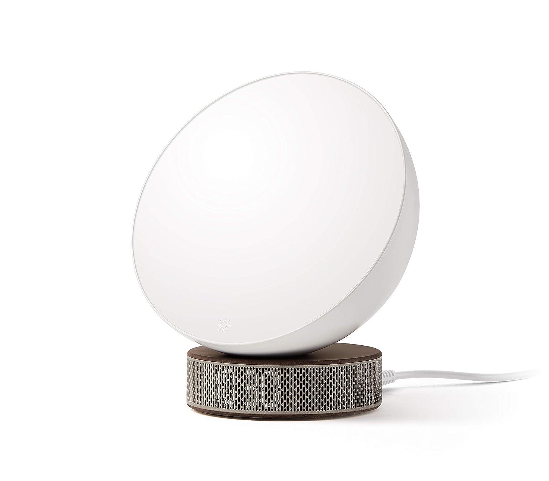 Ecran LED pour indiquer l/'heure Blanc//Marbre Blanc 6 sonneries naturelles Résistance à l/'eau IPX4 Fonction snooze Lampe de réveil Lexon Simulateur d/'aube Miami Sunrise