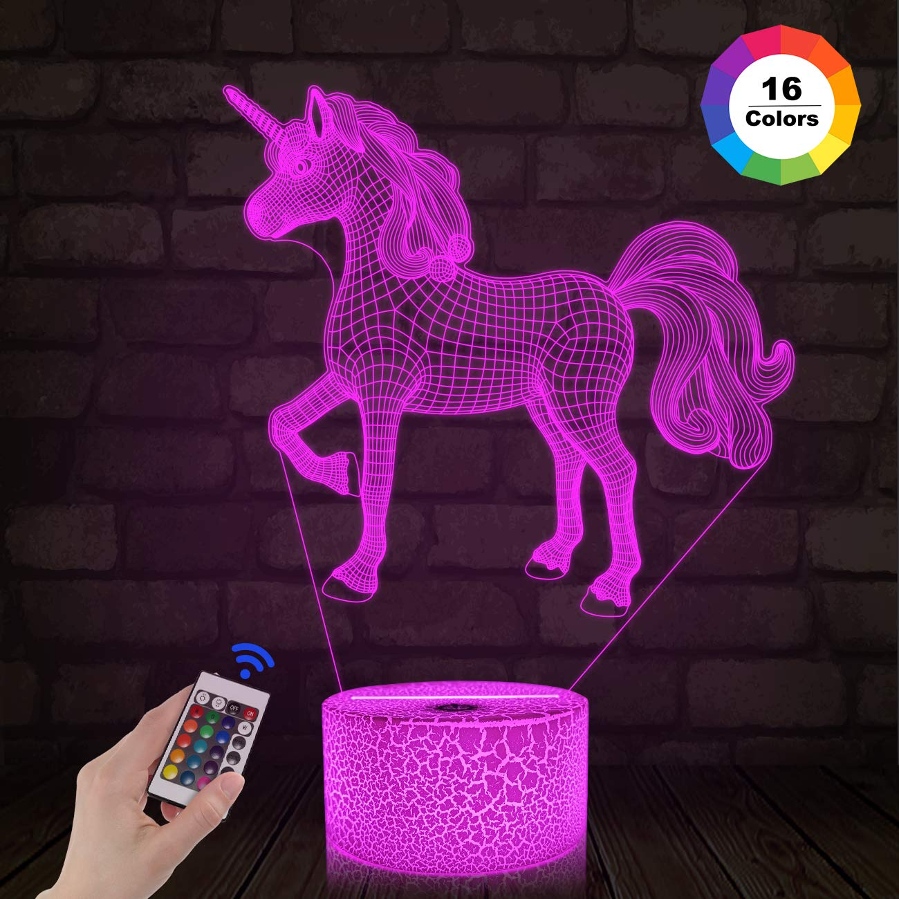 FULLOSUN 3D Kids Unicorn Night Light Optical Illusion Bedside Lamp,16 Colors Change with Remote Control Home Decor, Xmas Birthday Gift for Childs Girls Women