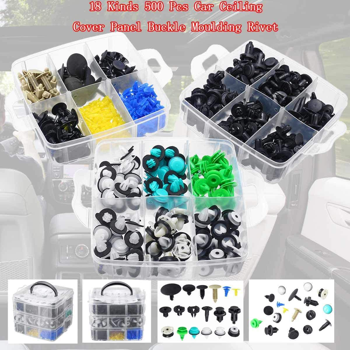 500Pcs 18 Sizes Car Body Fender Bumper Retainer Fastener Clip Kits Accessories