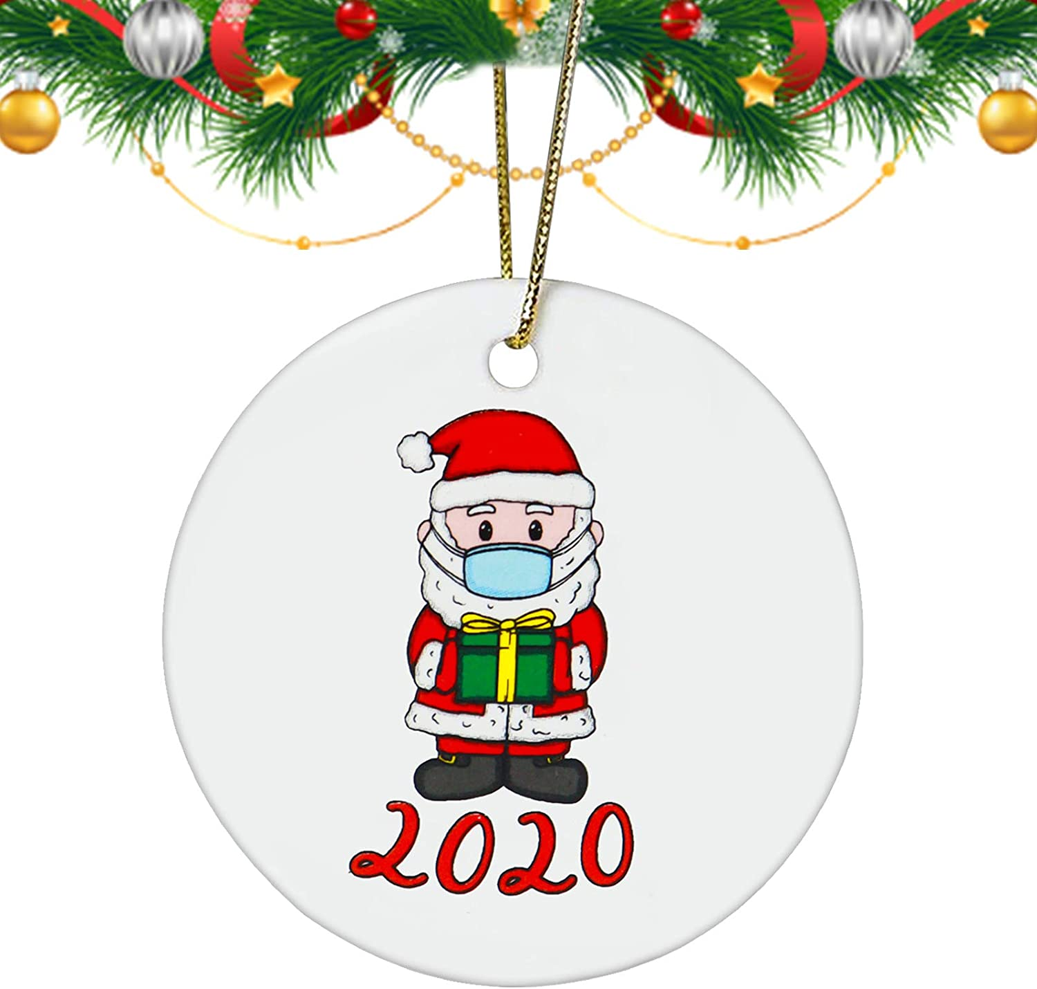 Ecledo 2020 Christmas Ornament Funny Pendant 2.8 inch Ceramic Round Holiday Mask Santa Claus Dog Christmas Ornament Pandent for Family Friends (B)