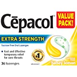 Cepacol Extra Strength, Fast and Effective Relief for Sore Throats, Sugar Free, Honey Lemon, Mega Value Pack, 36 Count