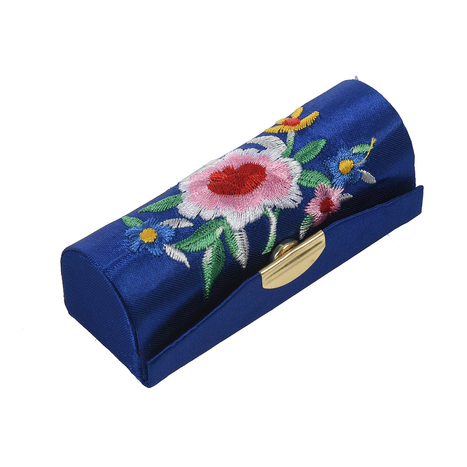 TOOGOO(R) Lady Floral Embroidery Mirror Lipgloss Lip Stick Case Jewelry Lipstick Box Holder Dark Blue SODIAL(R)