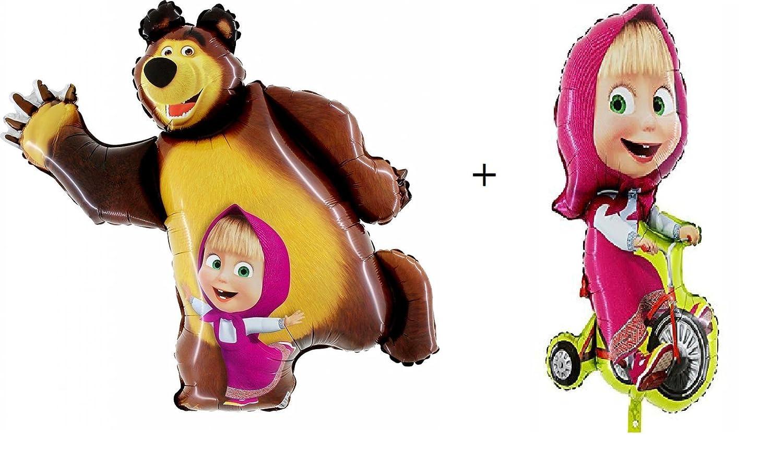 Masha and the Bear Party Shape Foil Ballons Set 35+39 : 2 pcs (1 of each design) KolVoi Shop