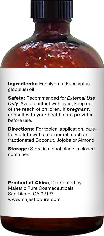 Majestic Pure Eucalyptus Essential Oil, Pure and Natural with Therapeutic Grade, Premium Quality Eucalyptus Oil, 4 fl. Oz.