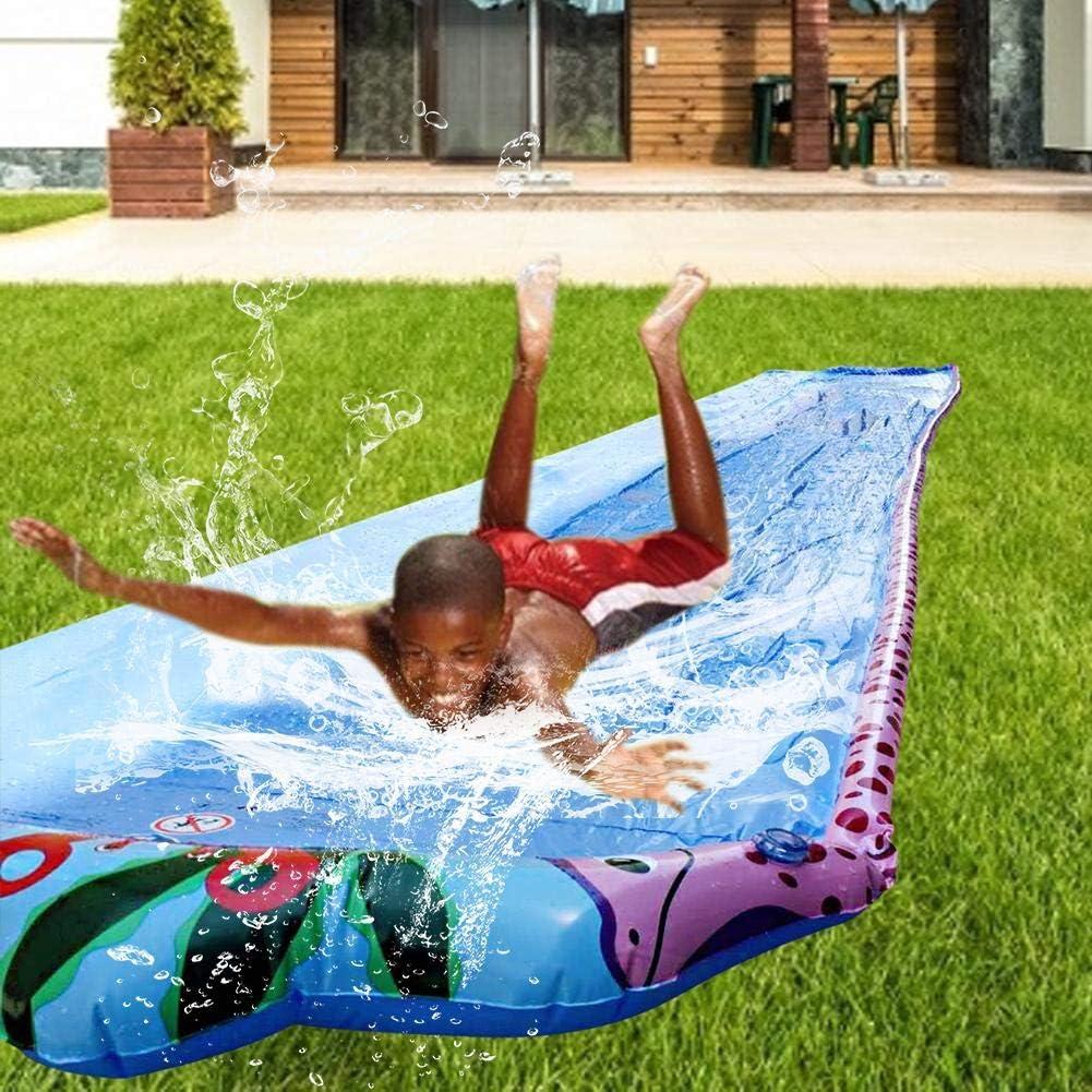 Rasen Wasserrutsche Super Lange einzelne Wasserrutsche Kinder aufblasbare Splash Sprint Racing Wasserrutsche Wassersport Spielzeug f/ür Familienaktivit/äten
