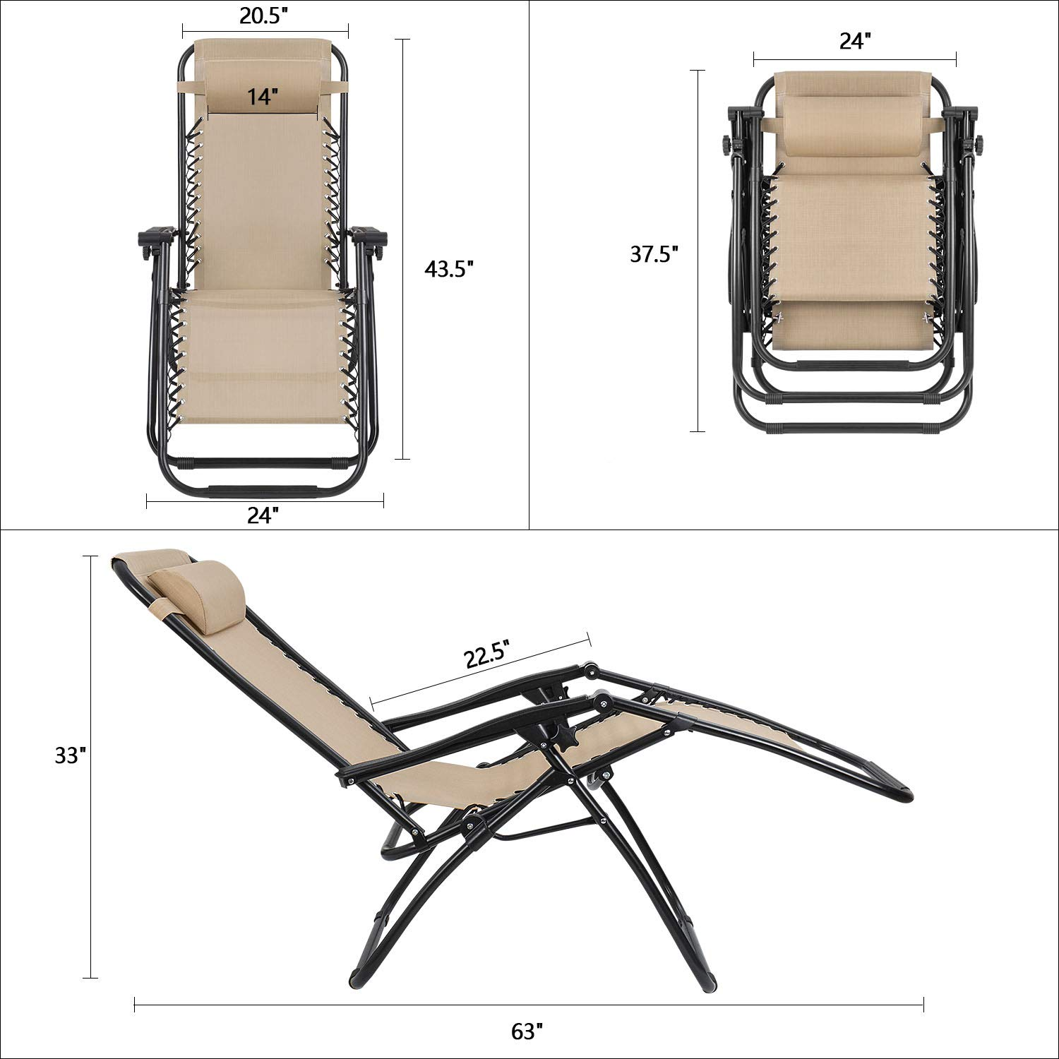 Devoko Patio Zero Gravity Chair Outdoor Folding Adjustable Reclining Chairs Pool Side Using Lawn Lounge Chair with Pillow Set of 2 (Beige) by Devoko (Image #6)