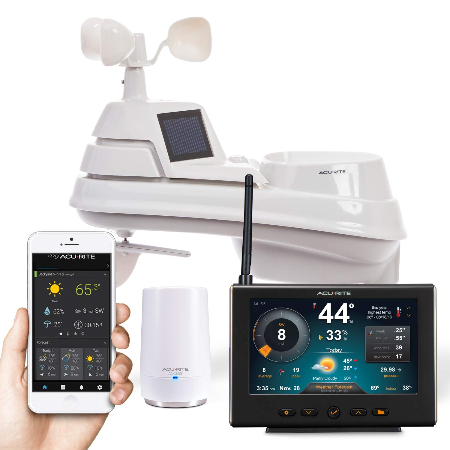 AcuRite 01211M 5-in-1 Wi-Fi Weather Station Future Forecast Powered by Dark Sky, Black