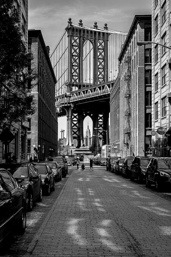 The Manhattan Bridge from Dumbo Brooklyn Black and White BW Photo Photograph Cool Wall Decor Art Print Poster 24x36