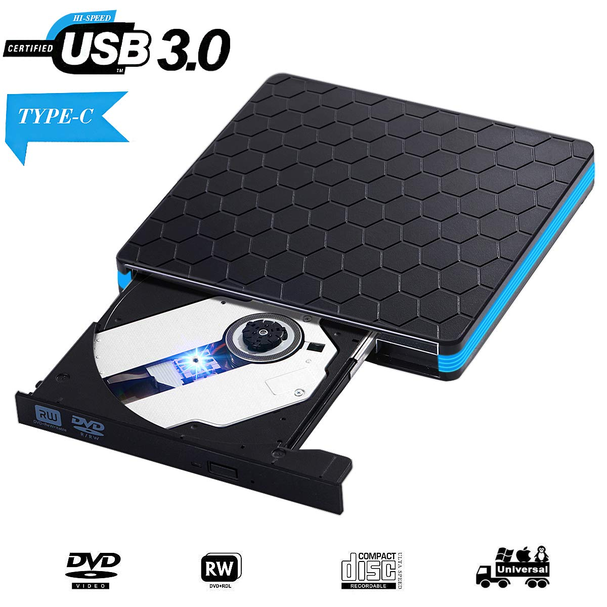 AOKUP - Reproductor Grabador de CD Externo portátil USB 3.0 Unidad ...