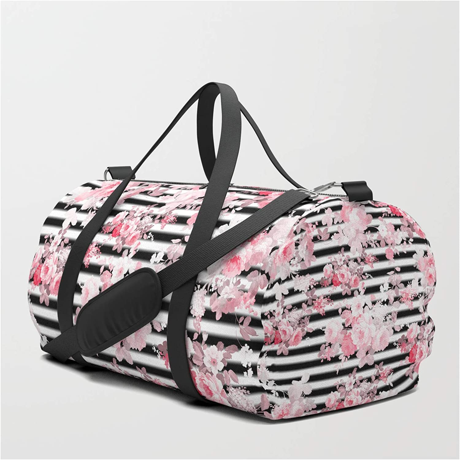 Small 19 x 9. Vintage Blush Pink Floral Black White Stripes by Pink Water on Travel//Duffle Bag
