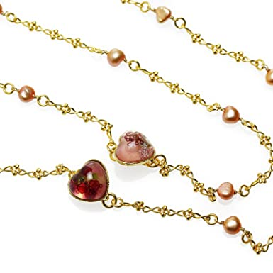 13ce2cbd3dc9 Tamarusan Eyeglasses Chain Necklace Heart Pink Freshwater Pearl Gold Nickel  Free