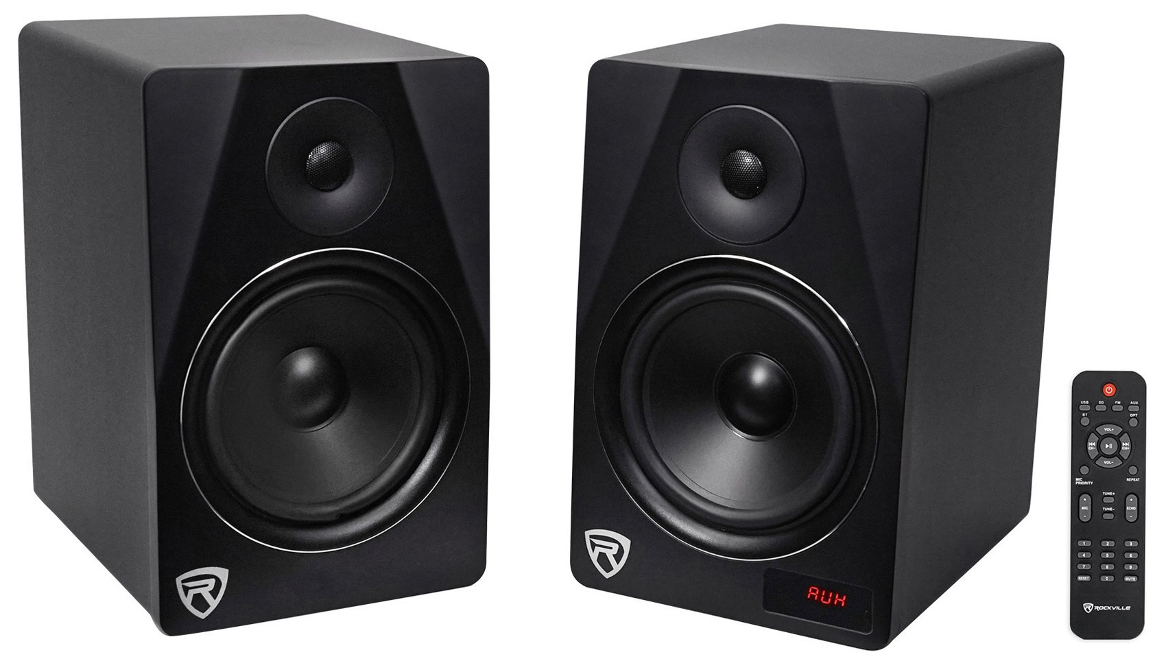 Rockville HTS8B Pair 8'' 1000W Powered Home Theater Speakers Bluetooth/FM/USB/SD