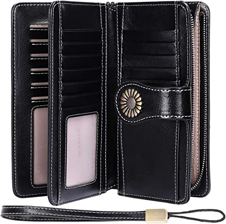 Ladies Leather Purse Wallet Organizer Compact with Large Coin Pocket Top Brand