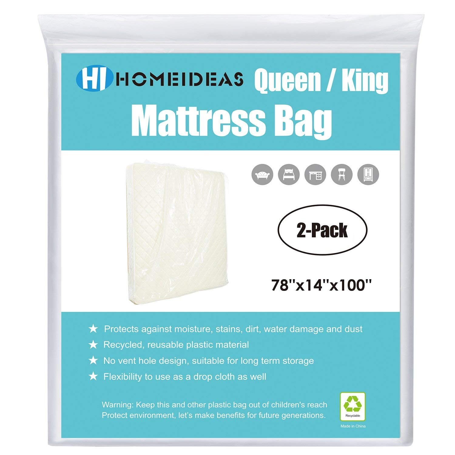 HOMEIDEAS 2-Pack 2 Mil Thick Mattress Bag for Moving & Long-term Storage, Fits Queen/King Size by HOMEIDEAS