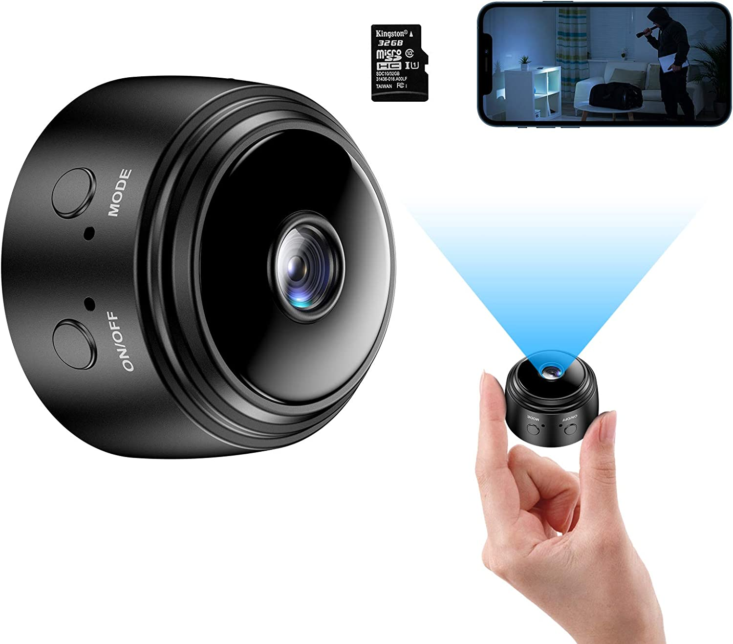 Mini Camera with 32G SD Card, Wireless WiFi Small Camera 1080P HD Home Security Surveillance Cameras with Night Vision Motion Detection, Tiny Cameras for Indoor/Outdoor Using