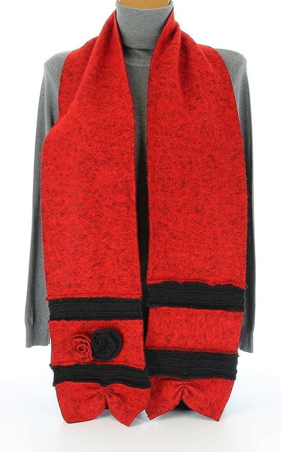 Charleselie94® - écharpe longue laine bouillie fleurs rouge noir ALBERT   Amazon.fr  Vêtements et accessoires 01a02d985284
