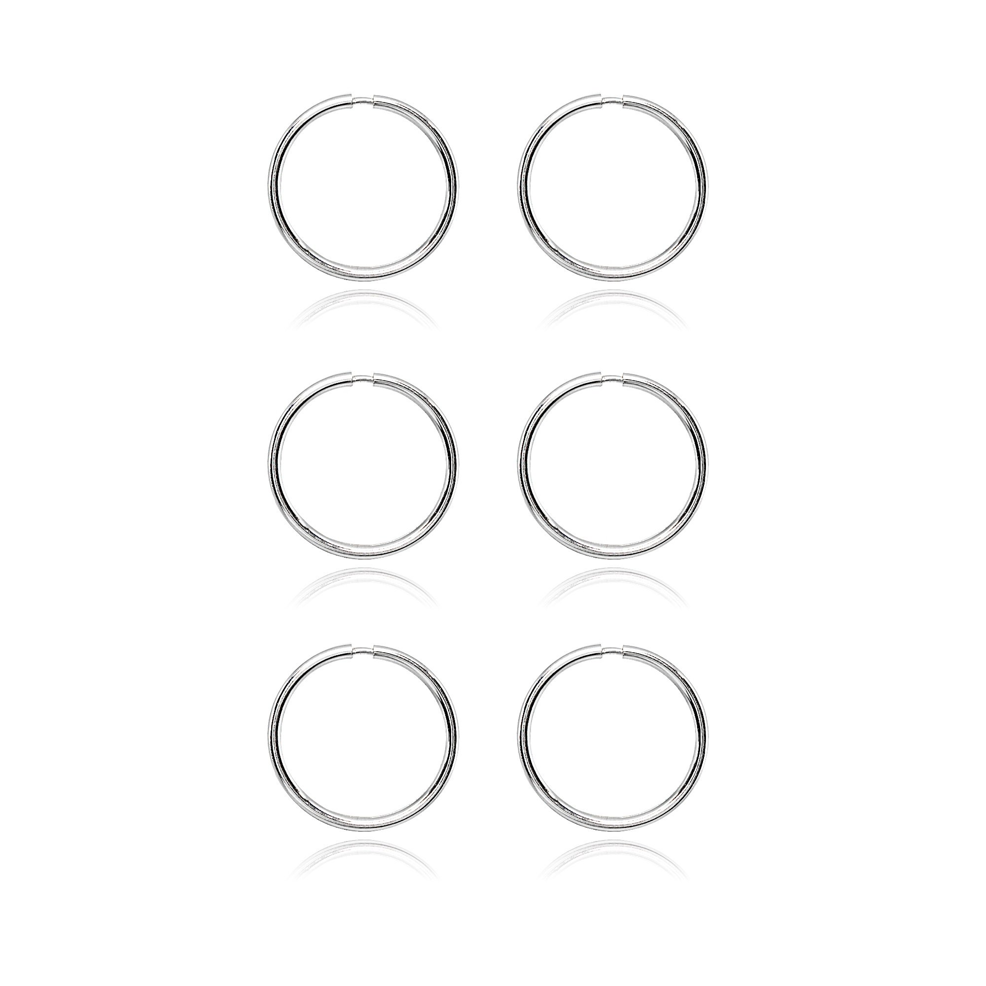 14K White Gold Tiny Small Endless 10mm Thin Round Lightweight Unisex Hoop Earrings, Set of 3 Pairs by Hoops 4 Less (Image #3)