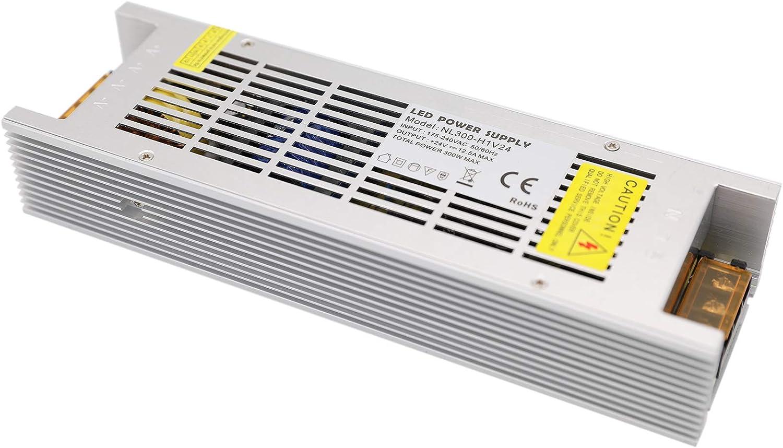 Daxpoo Tira De Led Fuente De Alimentación 24v Voltio 300W Raya Transformador Iluminación Controlador Dc Adaptador (NL300-DP24)