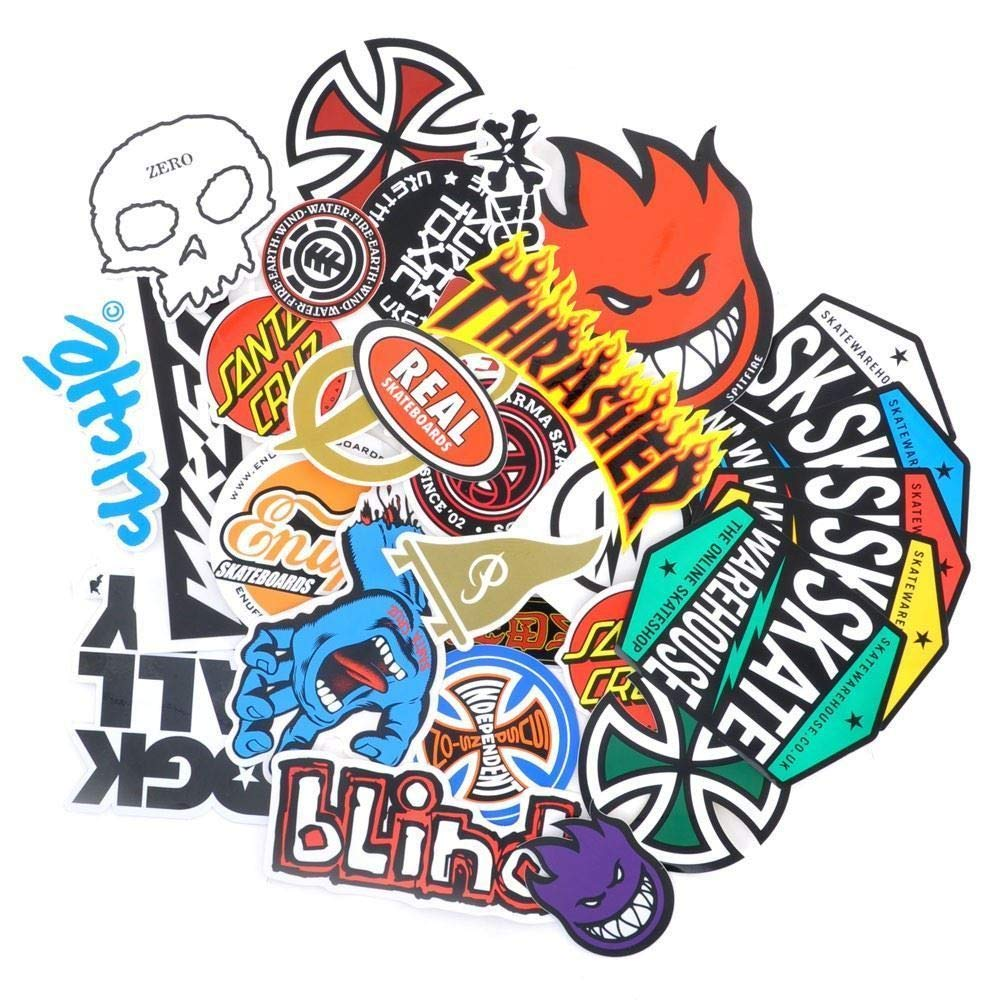 Random Skateboard Genuine Sticker Pack Thrasher/Spitfire/Thunder etc 5/10 Pack Ideal stickers for Skateboards/laptop computer/car stickers/water bottle/wall sticker/Decal stickers