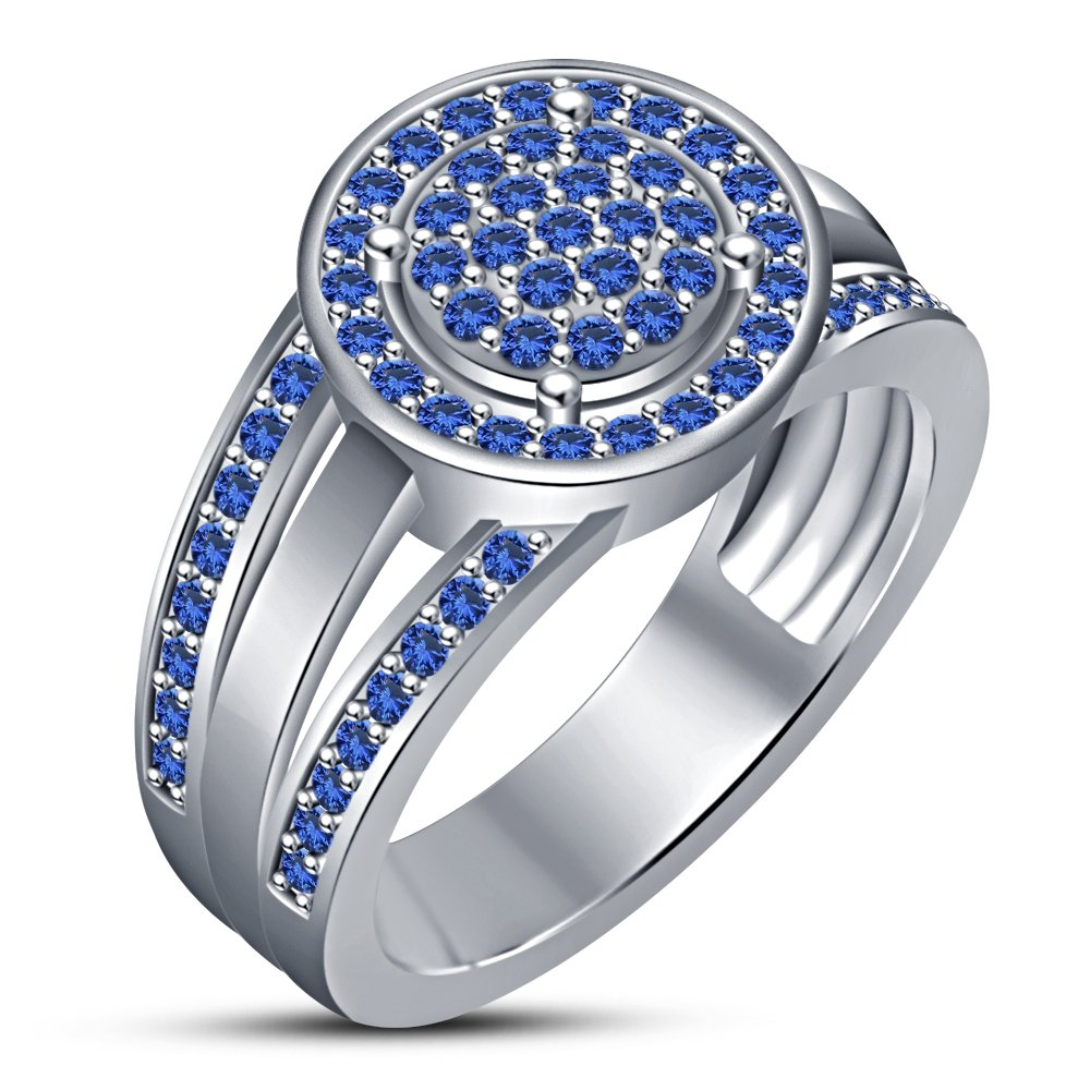 TVS-JEWELS Gemstone Vintage Ring For Lover Engagement Gift Jewelry 925 Silver Platinum Plated (8)