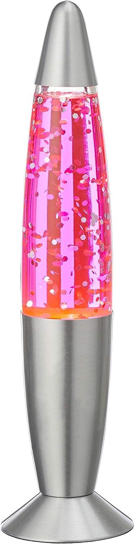 MIK funshopping Lampe /à lave scintillante r/étro paillettes 34 cm rose bonbon
