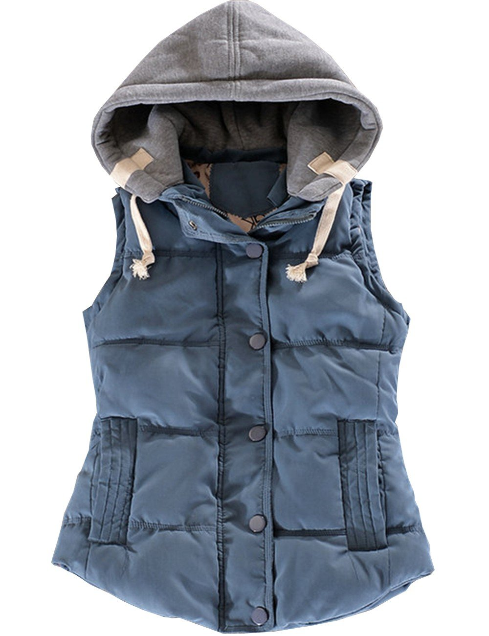 EMMA Women's Quilted Button Removable Hood Padded Gilet Casual Warm Winter Autumn Vest Down Sleeveless Jacket Outwear Bodywarmer Coat