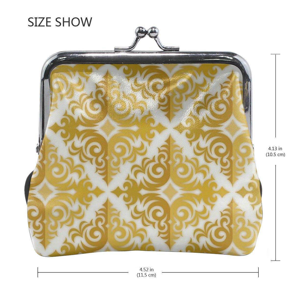 Poream Fashion Hibiscus Damask Gold Pattern Personalized Retro Leather Cute Classic Coin Purse Clutch Pouch Wallet For Womens