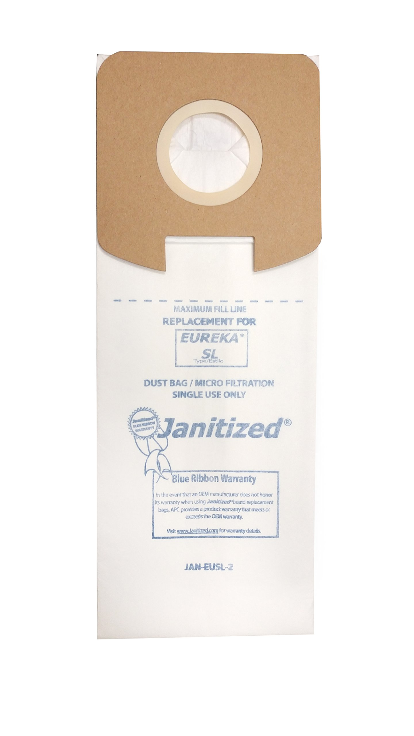 Janitized JAN-EUSL-2(3) Premium Replacement Commercial Vacuum Paper Bag, Eureka SL-Fits Eureka S782, SC785, Sanitaire Lightweight Vacuum Cleaners, OEM#61122, 61125 and 61125A (Pack of 3)