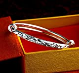RICISUNG Bangle Bracelet Solid Sterling Silver 925 Plated