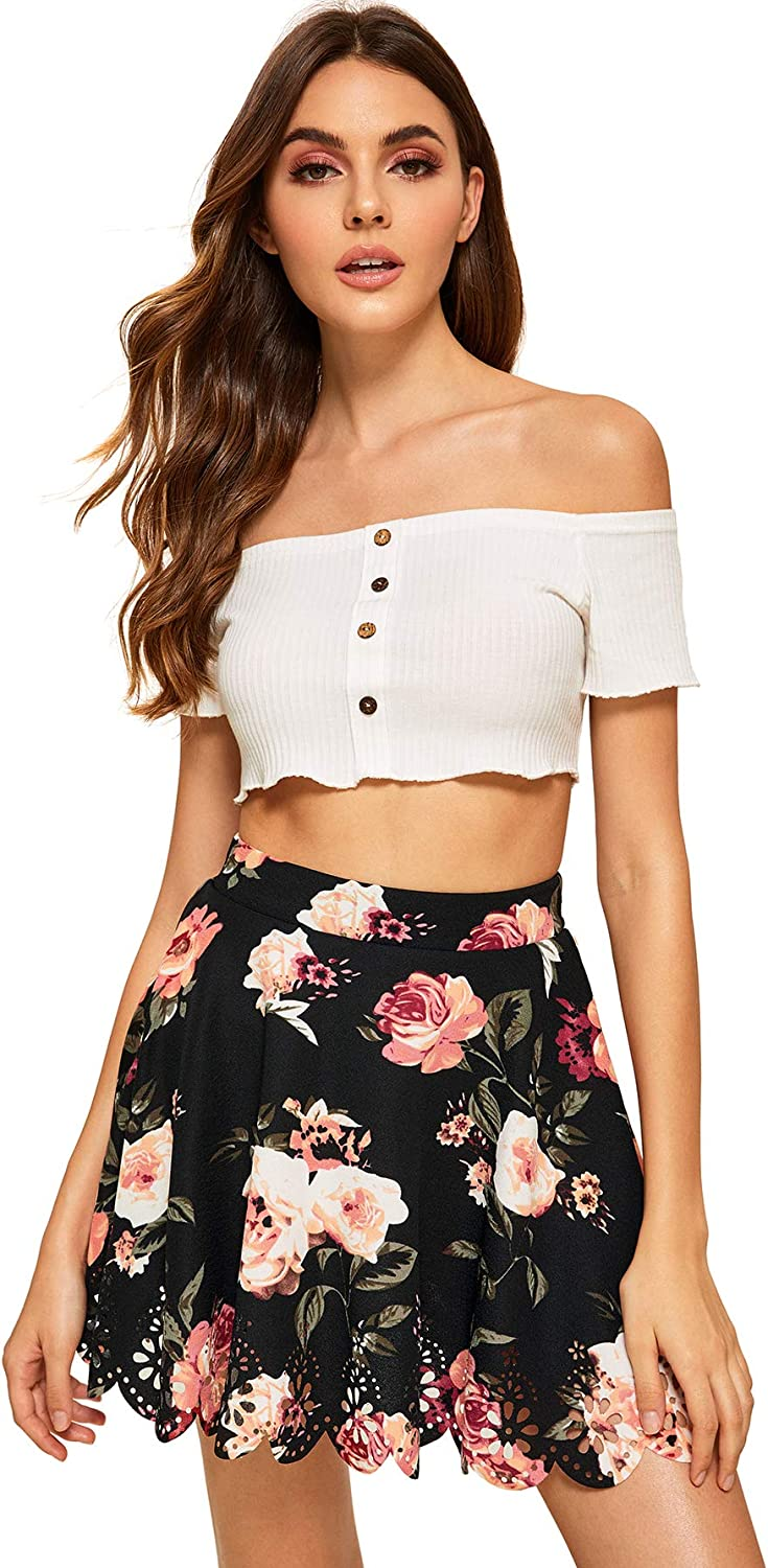 SheIn Womens Basic Solid Flared Mini Skater Skirt