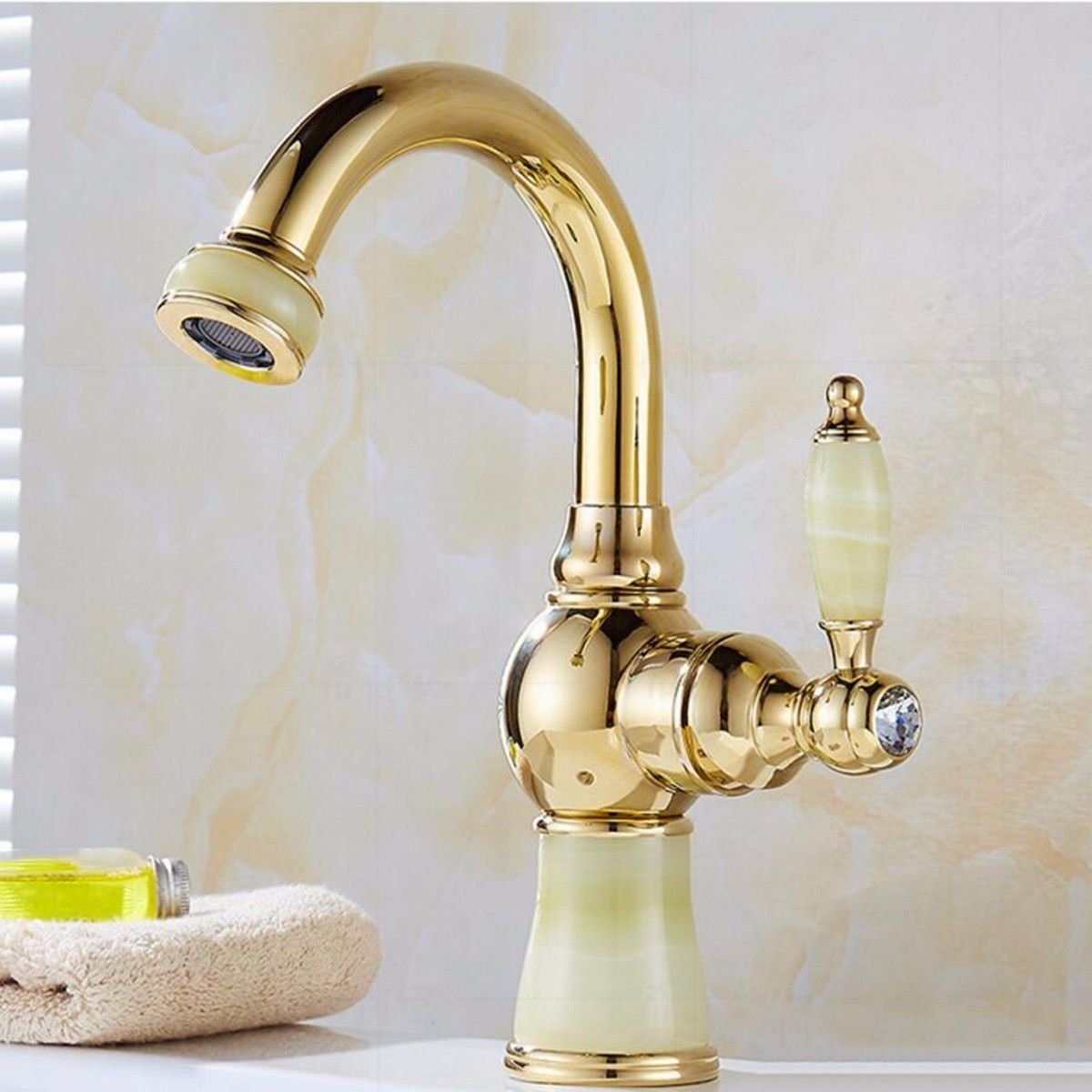 Oudan Basin Mixer Tap Bathroom Sink Faucet The bathrooms, hot and cold water taps continental gold jade full brass swivel faucet basin sink surface basin mixer, B (Color : B)