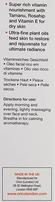 Amazon.com : Orico London Superico Vitamin Rich Face Oil, 1.01 Ounce : Facial Care Products : Beauty