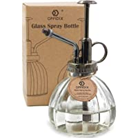 OFFIDIX Transparent Glass Watering Spray Bottle, 6.3 Inches Tall Vintage Style Spritzer Bronze Plastic Top Pump One Hand Watering Can Glass Spary Bottle Plant Mister Glass Watering Can Indoor