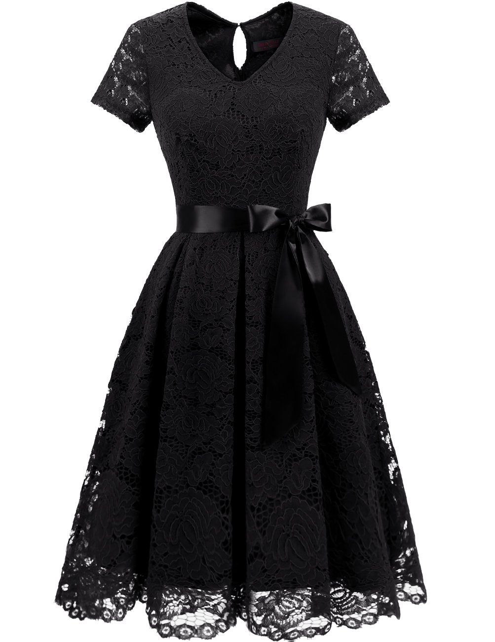 DRESSTELLS Women's Elegant Bridesmaid Dress Floral Lace Dresses with Short Sleeves Black 3XL