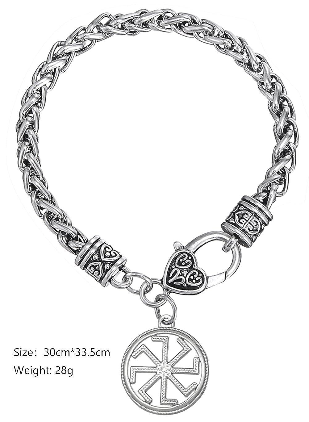 VASSAGO Ancient Myth Slavic God Kolovrat Sun Wheel Pendant Talisman Amulet Wheat Chain Bracelet